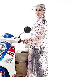 レインコート 大人のpvc自転車電気自動車ファッション長い女性透明大きな帽子レインコート屋外ハイキング波ポイントスリーブレインコートポンチョ帽子付き反射ストリップ(6色オプション) 成人用レインコート (色 : D, サイズ さいず : XXL)