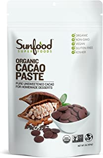 Sunfood Superfood Organic Cacao Paste- Pure, Unsweetened for Home-Made Desserts. Chocolaty Chunks of Ground Cacao Beans. P...