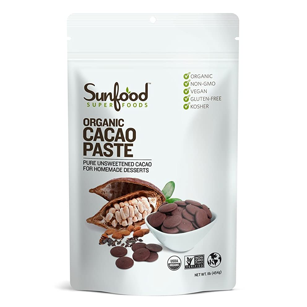 Sunfood Superfoods Cacao Paste- Organic, Non-Gmo. 1 lb Bag