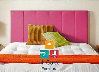 H-Cube Meble Divan łóżko podstawa zagłówek sztuczna skóra montowana na ścianie (różowy- 4FT6 podwójny 26)