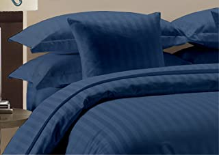 Whitecottonworld Hotel Luxury Egyptian Cotton 800 Thread Count Zipper Closer 1-Pieces Duvet Cover with Corner Ties, Super King (98 x 108 Inch) Size, Soft, Hypoallergenic, Navy Blue Striped