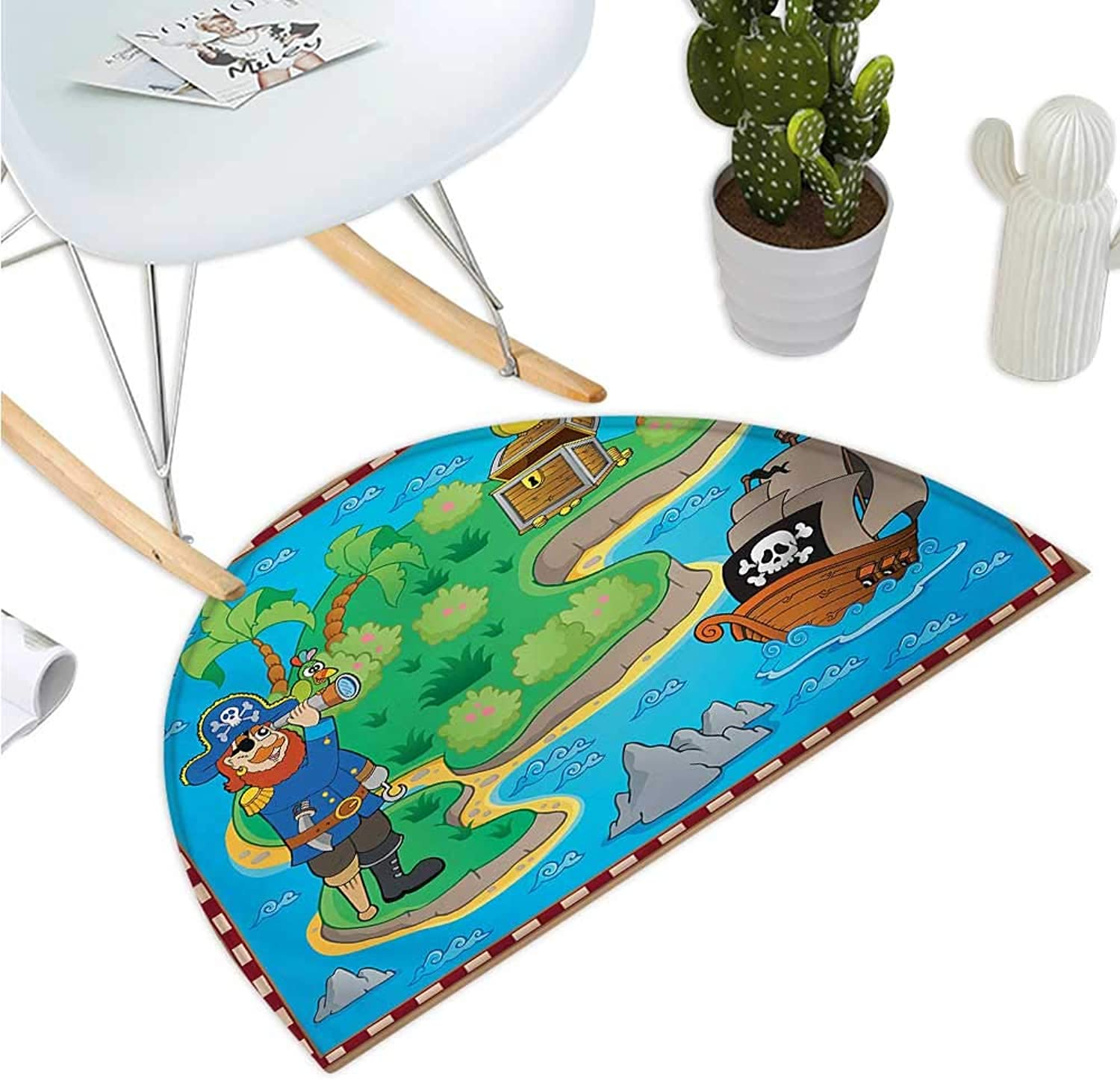 Island Map Semicircular Cushion Funny Cartoon of Treasure Island with A Pirate Ship and Parred Kids Play Room Entry Door Mat H 39.3  xD 59  Multicolor