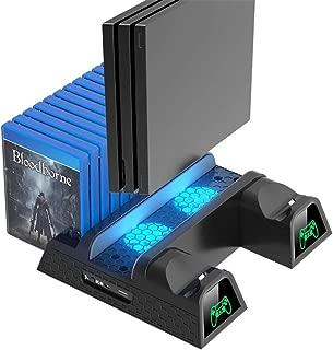 PS4 Pro 縦置き スタンド OIVO PS4 Slim スリム PS4 充電スタンド プレイステーション4縦置き LED付冷却ファン コントローラー2台同時充電 LED充電指示ランプ付 12ゲームカード収納 USBハブ 2ポート