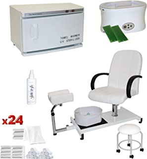 LCL Beauty White Pedicure Chair Hot Towel Warmer & Sterilizer Paraffin Wax Warmer Package