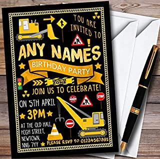 10 x Black Digger Construction Personalized Childrens Birthday Party Invitations