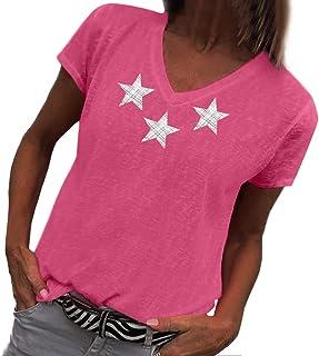 The Fashion Women's Summer V-Neck Short Sleeve Star Printed T-Shirt Tops Blouse 2019 Casual Beach Tees