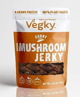 VEGKY Vegan Shiitake Mushroom Jerky CURRY 70 Grams 2.56 oz Non-GMO Vegetarian Meatless Snack Plant Based Cruelty Free