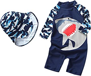 Baby Boys Swimsuit One Piece Toddlers Zipper Bathing Suit Swimwear with Hat Rash Guard Surfing Suit UPF 50+