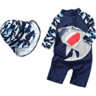 Baby Boys Swimsuit One Piece Toddlers Zipper Bathing Suit Swimwear with Hat Rash Guard Surfing...