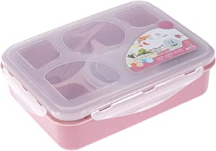 BESTONZON 5 Compartments Bento Box Plastic Lunch Box with Soup Bowl Food Fruit Container with Lid and Spoon (Pink)
