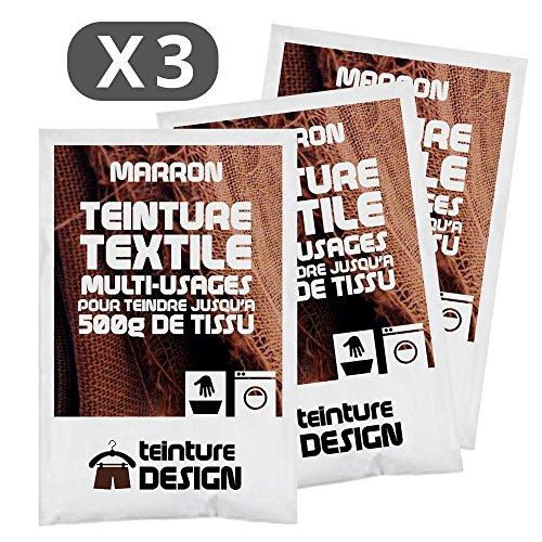 Juego de 3 bolsas de tinte textil, color marrón, para ropa y tejidos naturales