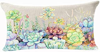Fresh And Colorful Hand-painted Potted Plants Succulents Cotton Linen Throw Waist Lumbar Pillow Case Cushion Cover Home Of...