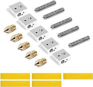 MK8 Extruder Nozzles Kit for 3D Printer 5 Pcs Aluminum Heater Block +5Pcs 1.75mm Extruder Throat Tube M6 Thread +5Pcs 0.4mm Brass Nozzle +5Pcs Cotton Heater Tape for Makerbot MK7/MK8 Prusa i3 CR-10
