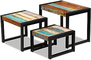vidaXL Tables de Nidification Bois de Récupération Massif 3 Pièces Maison