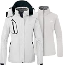 Wantdo Women's 3 in 1 Ski Jacket Waterproof Snowboarding Jacket Insulated Fleece Jacket Winter Snow Coat