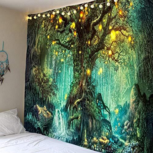 Tapiz de árbol de vida forestal paisaje tapiz montado en la pared decoración tapiz de árbol de linterna decoración mágica del hogar A68 100x150cm