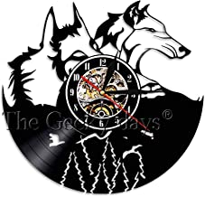 N / A 3D-Seven Colors-Remote Control-USB-Mute Wall Clock-Wolf Couple Wall Clock Vinyl Clock Recording Time Clock Animal Light Vintage Clocks Home Interior Decoration