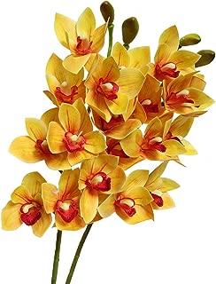 Htmeing 2pcs 10 Heads Artificial Cymbidium Orchids Flowers Plant Branches Stems for Wedding Centerpieces Floral Arrangement (Orange)