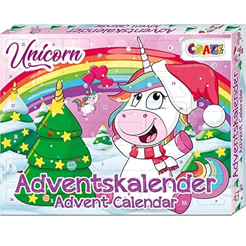 CRAZE Premium Advent Calendar 24706 adviento Navidad 2020 Unicorn Calendario de Juguetes niños con Contenido Creativo y Grandes sorpresas, Color Play Set