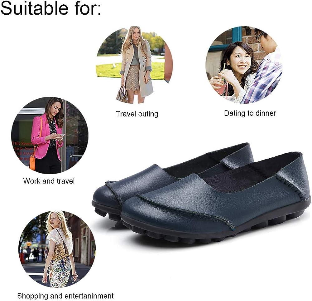 Mocassins Boat Shoes KUNSHOP Men Women Slip on Leather Loafers Casual Loafer Flats Comfort Driving Shoes