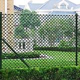 FAMIROSA Valla Tela metálica con Postes Acero galvanizado Verde 1,5x25 m