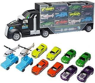Rot FLAMEER 1:48 Diecast Autotransporter Truck Transport-LKW mit 2 Spielzeugauto Spielset f/ür Kinder Geschenk