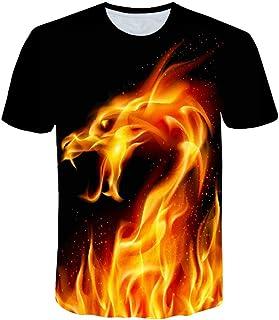 SHOULIEER 3D Printing Flame Kids T-Shirt Boy Gir Personality Summer Short Sleeve T Cool T Shirt Tops 4-14t