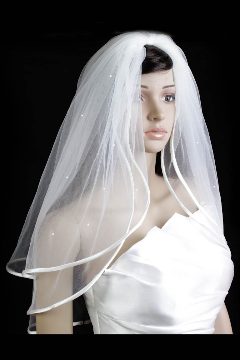 Bridal Veil Diamond (Off) White 2 Tiers Elbow Length With Scattered Rhinestones