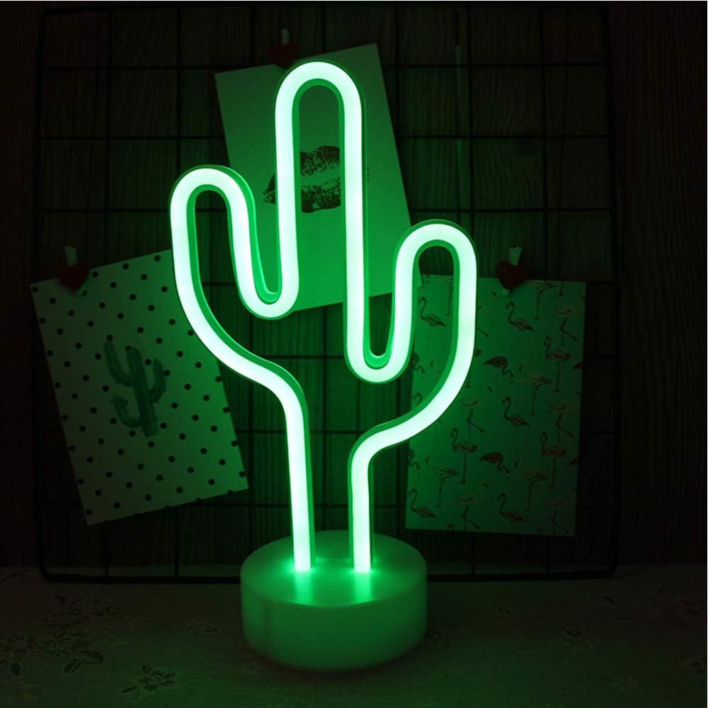 NIWWIN Letrero de luz de neón LED Decoración de pared Luz de noche USB/Neón con pilas para Navidad Regalo de cumpleaños Fiesta Niños Sala de estar Decoración de boda (Cactus)