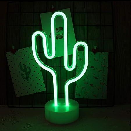Niwwin Neonlichtfigur, LED-Wanddekoration, Nachtlicht, USB/batteriebetriebenes Neonlicht für Weihnachten, Geburtstagsgeschenk, Party, Kinder, Wohnzimmer, Hochzeitsdekor (Kaktus)