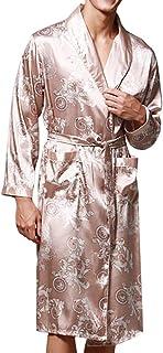 Rikay Men's Dragon Print Satin Lightweight Long Sleeve Loose Dressing Gown Nightwear Bathrobe Towelling Robe L-XXXL
