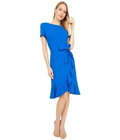 Calvin Klein Belted Short Sleeve Dress with Ruffle Detail (Capri) Women