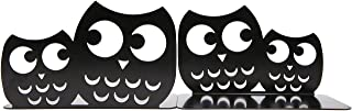 One Pair of Creative Cute Nonskid Owl Animal Art Bookends for Home Office Library Decoration Birthday Gift(Black)