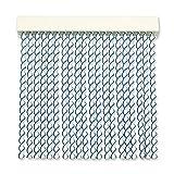 Cortinas - Tenda in corda per esterni, in plastica PVC e barra in alluminio, 72 strisce, ideale per terrazze e verande, anti-mosche, bianco-blu, 210 x 90 cm