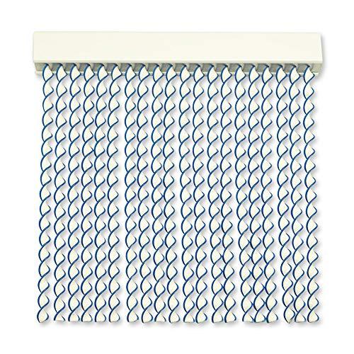 Cortinas Exterior Puerta de Cordon   96 Tiras Plastico PVC y Barra Aluminio   Ideal para Terraza y Porche   Antimoscas   Blanco-Azul   210 * 120