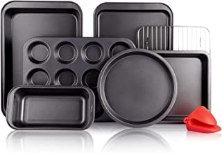 KITESSENSU Baking Pans Sets, Nonstick Bakeware Set 8-Piece with Round/Square Cake Pan, Loaf Pan, Muffin Pan, Cookie Sheet,...