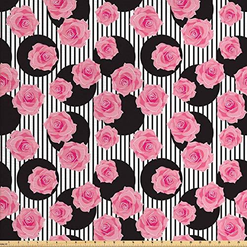 daoyiqi Juego de adhesivos decorativos para azulejos, diseño floral y romántico, con pétalos de rosa sobre círculos minimalistas y rayas, fondo moderno de amor, 12 unidades