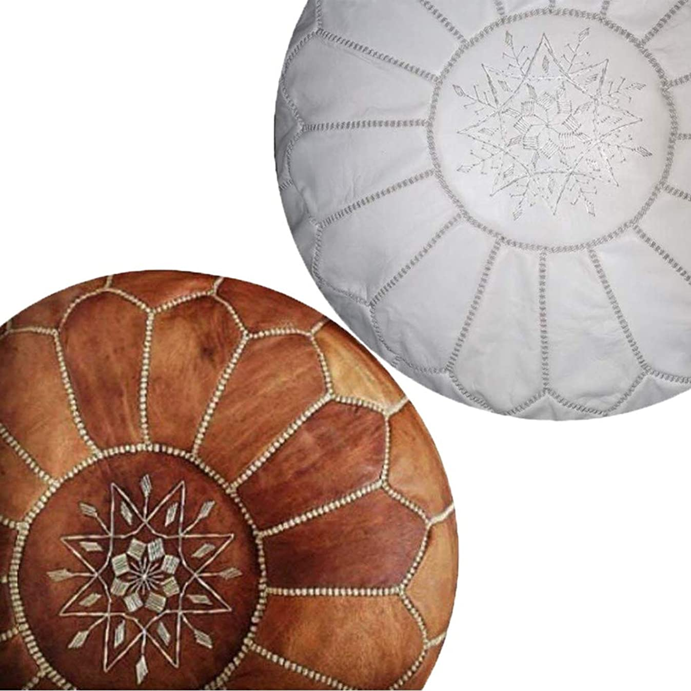 Set of 2 Amazing Moroccan pouf Tan & Wihte Leather Pouf Best offer, Ottomans,Footstool,100% handmade Ready to magic your living room! Leather
