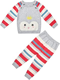 SMILING PINKER Baby Girls Clothes Sweater Pullover and Pants Leggings Sets Striped Cute Outfits