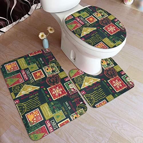 Christmas Santa Claus Postage Stamps Elements Bathroom Antiskid Pad Non-Slip Bath Mat Bathroom Rug Mats Set Anti-Skid Toilet Floor Mat Toilet Lid Cover Shag Shower Mat Washable Doormat 3 Pcs