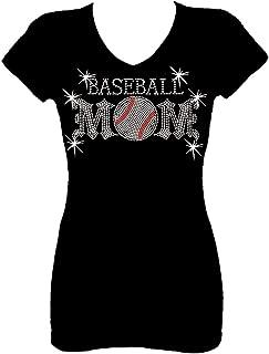 Baseball Mom Lets Go Back Rhinestone Womens V Neck Short Sleeve Tee Shirt