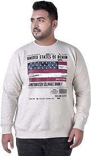 JOHN PRIDE Men's Plus Size Round Neck Off-White Pullover Sweatshirt