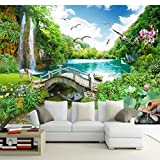 Moderne Wanddeko Design Wandbilder Benutzerdefinierte 3D Fototapete Wasserfall Brücke Natur Landschaft Großes Wandbild Wohnzimmer Sofa TV Hintergrund Wandtattoos-208 X 146CM