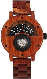 LYMUP Reloj de Madera Reloj de brújula Reloj de Hombre Medio Esfera Natural Reloj de Pulsera de Cuarzo de Madera Completo ...