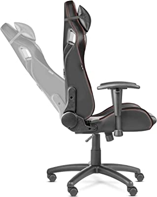 McHaus Negra Silla Gaming Pro ergonómica, Ajustable, con reposacabezas y cojín Lumbar, reclinable