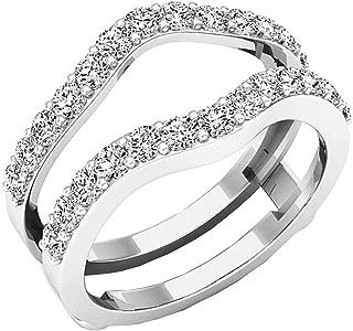 Dazzlingrock Collection 1.65 Carat (ctw) Round Cubic Zirconia Ladies Wedding Enhancer Guard Double Ring, 10K Gold