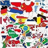 ZJJHX Mapa de Estilo Chino del Mundo Bandera Nacional Personalidad Maleta Maleta Pegatinas Trolley Case Patineta Refrigerador Pegatinas Impermeables 36 Piezas