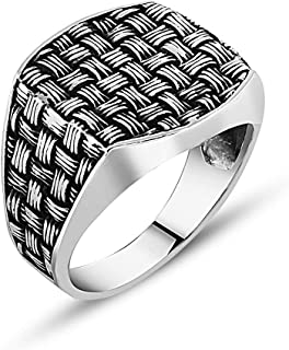 chimoda Mens Silver Ring with Wicker Pattern in 925 Sterling Turkish Handmade Jewelry Men's Rings