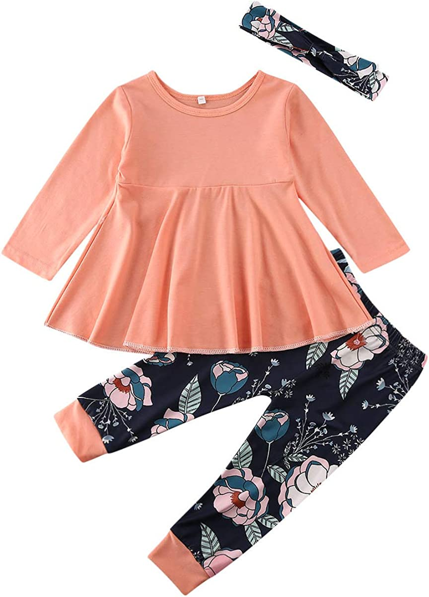 Toddler Baby Girl Outfit Solid Color Ruffle Tops Floral Pants Headband Little Kid Autumn Winter Clothes Set