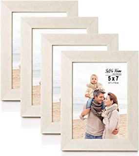 LaVie Home 5x7 Picture Frames(4 Pack,Ivory White) Wood Texture Photo Frame with High Definition Glass for Wall Mount & Table Top Display, Set of 4 Zest Collection